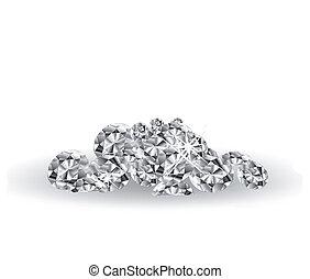 Vector Diamonds on white surface. Art illustration