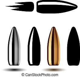 vector, dibujo, arma, arma de fuego, balas