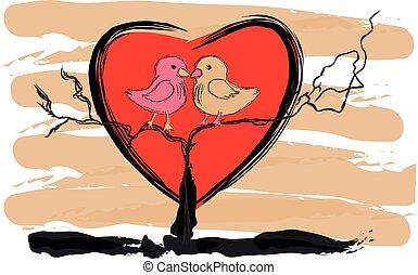vector, dibujo, corazón, aves, lovebird, amor, paloma