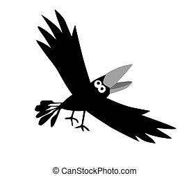 vector, dibujo, plano de fondo, blanco, cuervos