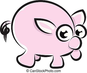 vector, dibujo, visto, plano de fondo, lado, caricatura, aislado, conjunto, blanco, color, o, cerdo, ilustración