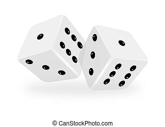 Vector dices on white background with meshes