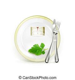 vector, dieet, illustratie