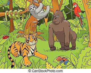 vector, dieren, jungle, illustratie, spotprent