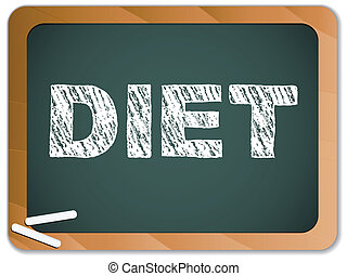 Diet written on blackboard with chalk. - Vector - Diet...