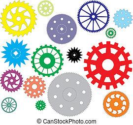 vector, diferente, conjunto, engranajes, forma