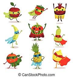 vector, diferente, conjunto, superhero, ilustración, posturas, fruta, tarjeta, caracteres, impresión, o, elementos, feliz