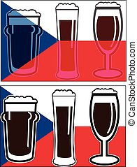 vector different beer glasses on national european flag