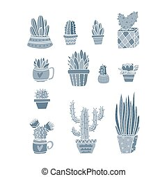 Vector different Cactus and exotic plants collection design ...