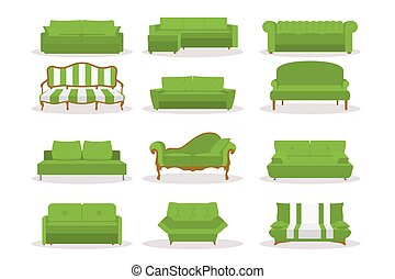 Vector Different Green Leather Luxury Office Sofa, Couch Icon Set in Flat Style Isolated on White Bsckground. Simple, Modern, Retro, Classic, Vintage Style. Templates for Interior Design, Living Room