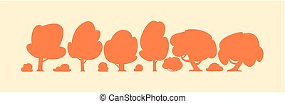 Vector different trees silhouettes cartoon set