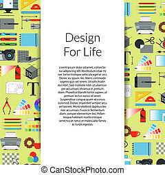 Vector digital art design background with ribbon