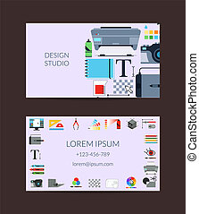 Vector digital art design studio card template - Vector...