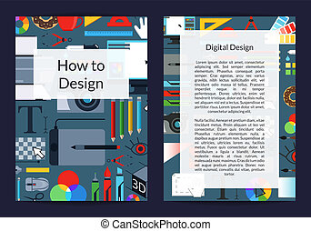 Vector digital art design studio or courses card or flyer...