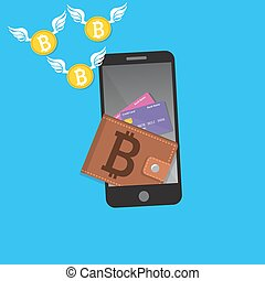 vector digital bitcoin mobile wallet