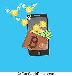 vector digital bitcoin mobile wallet