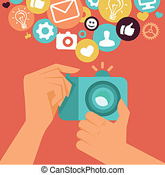 Vector digital camera in flat retro style - hands holding...