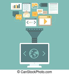 Vector digital marketing concept in flat style - uploading...