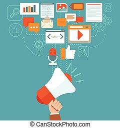vector, digital, mercadotecnia, concepto, en, plano, estilo