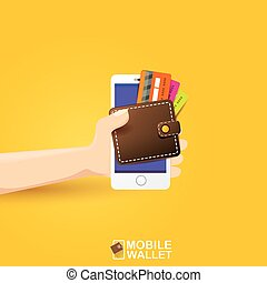 vector digital mobile e wallet vector concept - vector...