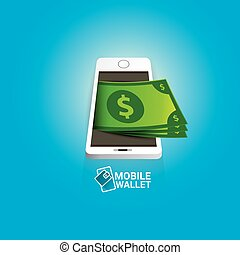 vector digital mobile wallet vector concept icon. smartphone...