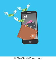 smartphone screen with wallet and credit cards