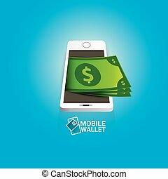 vector digital mobile wallet vector concept icon. smartphone...