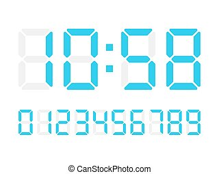 Vector digital numbers on white background for calculator or scoreboard.