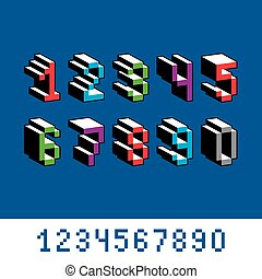Vector digits, numerals created in 8 bit style. Pixel art numbers set, 3d mathematics design elements.