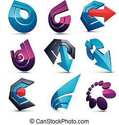 Vector dimensional business and corporate graphic symbols collection. Set of arrows and different simple design elements.
