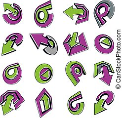 Vector dimensional business and corporate graphic symbols collection. Set of green and purple arrows and different simple design elements.