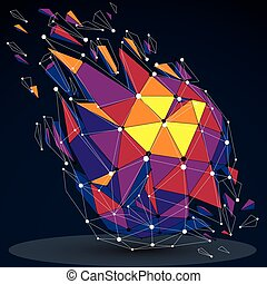 Vector dimensional colorful wireframe object, demolished low...