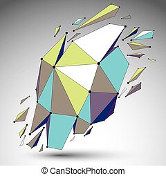Vector dimensional colorful wireframe object, demolished...