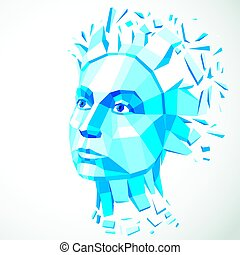 Vector dimensional low poly female portrait, blue graphic illustration of human head broken into fragments. 3d demolished object created with fractures and different particles.