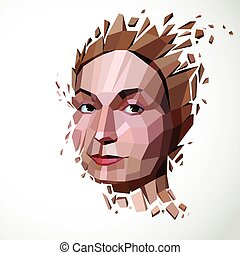 Vector dimensional low poly female portrait, graphic illustration of human head broken into fragments. 3d demolished object created with fractures and different particles.