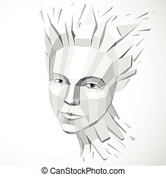 Vector dimensional low poly female portrait, graphic monochrome illustration of human head broken into fragments. 3d demolished object created with fractures and different particles.