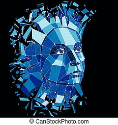 Vector dimensional low poly female portrait with lines mesh, graphic illustration of human head broken into fragments. 3d demolished wireframe object created with fractures and different particles.