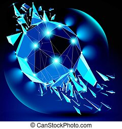 Vector dimensional wireframe blue sparkling object with...