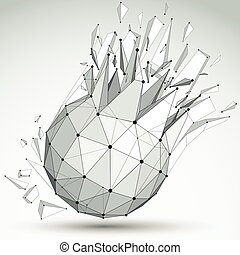 Vector dimensional wireframe grayscale object, spherical...