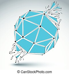 Vector dimensional wireframe object, blue spherical...
