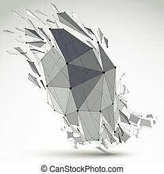 Vector dimensional wireframe object, demolished shape with...