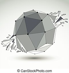 Vector dimensional wireframe object, spherical demolished...