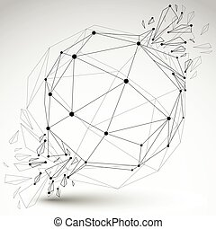 Vector dimensional wireframe object, transparent spherical...