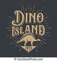Vector dino island logo concept. Stegosaurus national park insignia design. Jurassic period illustration. Dinosaur Vintage T-shirt badge on dark background