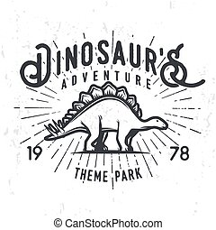 Vector dinosaur adventure logo concept. Stegosaurus theme park insignia design. Jurassic period illustration. Vintage T-shirt badge on grunge background