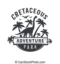 Vector dinosaur logo concept. brachiosaurus adventure park insignia design. Jurassic period illustration. Dino Vintage T-shirt badge on white background