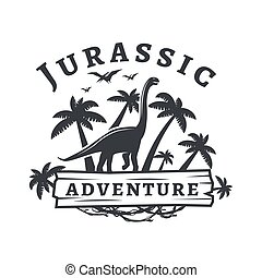 Vector dinosaur logo concept. Sauropod adventure park insignia design. Jurassic period illustration. Dino Vintage T-shirt badge on white background