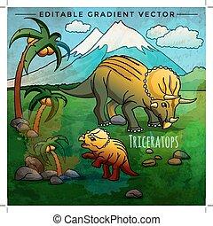 vector, dinosaurio, triceratops, habitat., ilustración