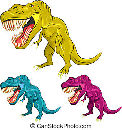 vector, dinosaurus, set, kleurrijke, tyrannosaurs