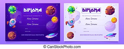 Vector diploma for kids with cartoon books